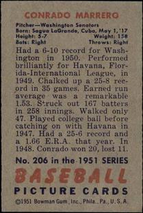 1951 Bowman #206 Conrado Marrero RC back image
