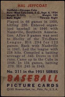 1951 Bowman #211 Hal Jeffcoat RC back image