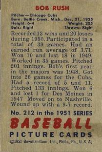 1951 Bowman #212 Bob Rush back image