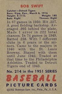 1951 Bowman #214 Bob Swift back image