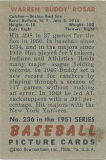 1951 Bowman #236 Buddy Rosar back image