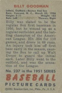 1951 Bowman #237 Billy Goodman back image