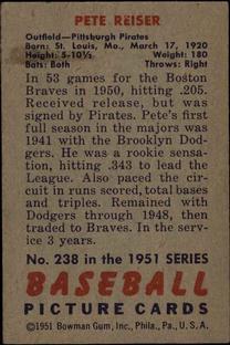 1951 Bowman #238 Pete Reiser back image