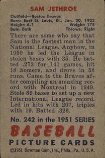 1951 Bowman #242 Sam Jethroe back image