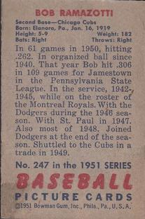 1951 Bowman #247 Bob Ramazzotti RC back image