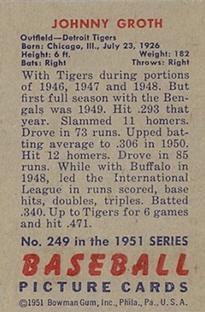 1951 Bowman #249 Johnny Groth back image