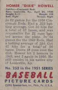 1951 Bowman #252 Dixie Howell RC back image