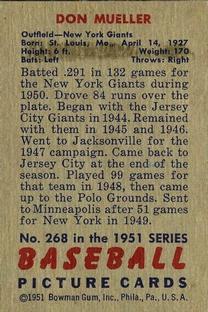 1951 Bowman #268 Don Mueller back image
