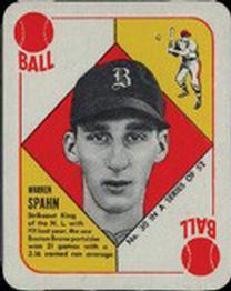 1951 Topps Red Backs #30 Warren Spahn