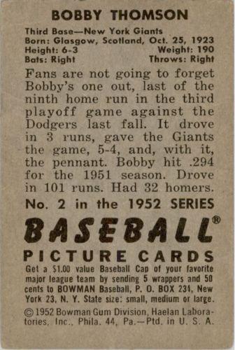1952 Bowman #2 Bobby Thomson back image