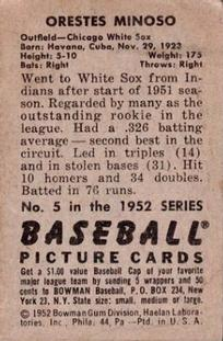 1952 Bowman #5 Minnie Minoso RC back image