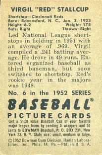 1952 Bowman #6 Virgil Stallcup back image