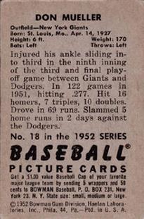 1952 Bowman #18 Don Mueller back image