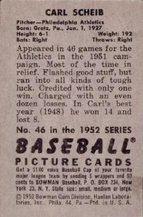1952 Bowman #46 Carl Scheib back image