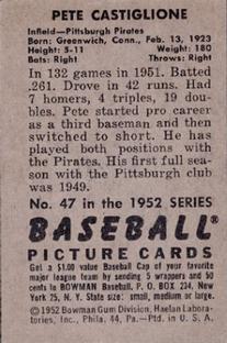 1952 Bowman #47 Pete Castiglione back image