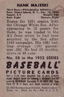 1952 Bowman #58 Hank Majeski back image