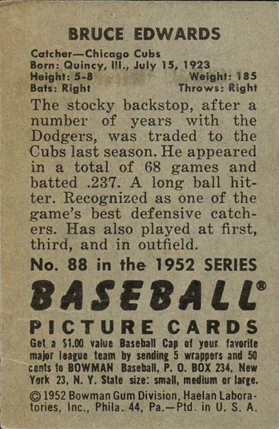 1952 Bowman #88 Bruce Edwards back image