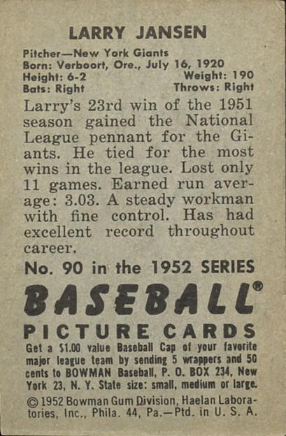 1952 Bowman #90 Larry Jansen back image