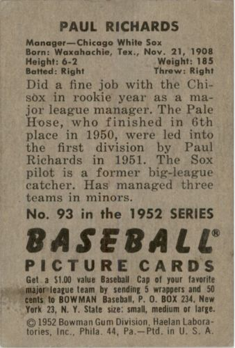 1952 Bowman #93 Paul Richards MG back image