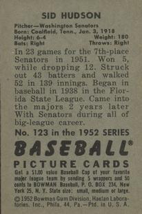 1952 Bowman #123 Sid Hudson back image
