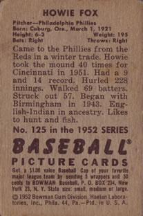 1952 Bowman #125 Howie Fox back image