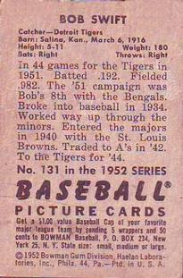 1952 Bowman #131 Bob Swift back image