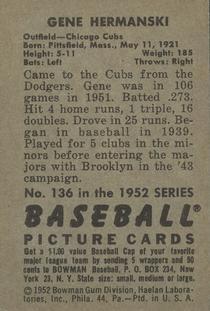 1952 Bowman #136 Gene Hermanski back image