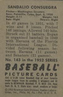 1952 Bowman #143 Sandy Consuegra back image