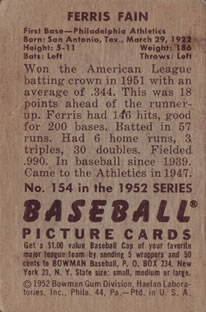1952 Bowman #154 Ferris Fain back image