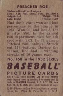 1952 Bowman #168 Preacher Roe back image