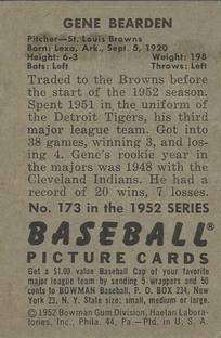 1952 Bowman #173 Gene Bearden back image