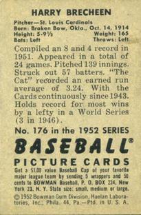 1952 Bowman #176 Harry Brecheen back image