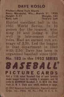 1952 Bowman #182 Dave Koslo back image