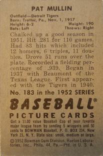 1952 Bowman #183 Pat Mullin back image