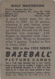 1952 Bowman #205 Walt Masterson back image