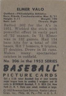 1952 Bowman #206 Elmer Valo back image