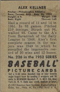 1952 Bowman #226 Alex Kellner back image