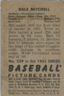 1952 Bowman #239 Dale Mitchell back image