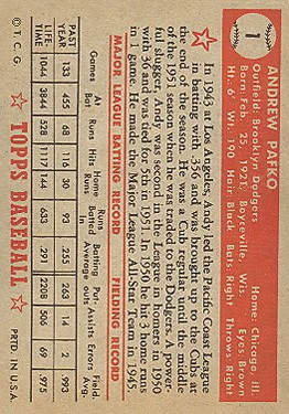 1952 Topps #1 Andy Pafko back image