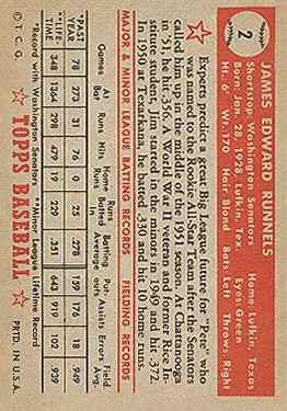 1952 Topps #2 Pete Runnels RC back image