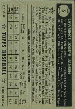 1952 Topps #5 Larry Jansen back image