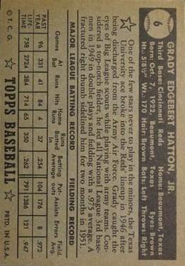 1952 Topps #6 Grady Hatton back image