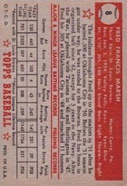 1952 Topps #8 Fred Marsh RC back image