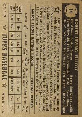 1952 Topps #14A Bob Elliott Black back image