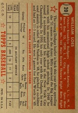 1952 Topps #20 Billy Loes SP RC back image