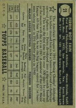1952 Topps #21A Ferris Fain Black back image