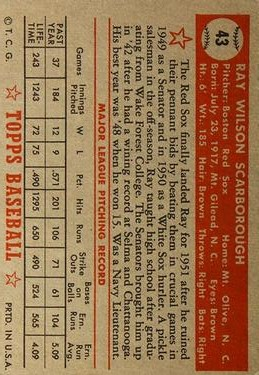 1952 Topps #43 Ray Scarborough back image
