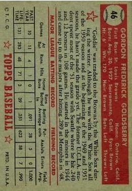 1952 Topps #46 Gordon Goldsberry RC back image