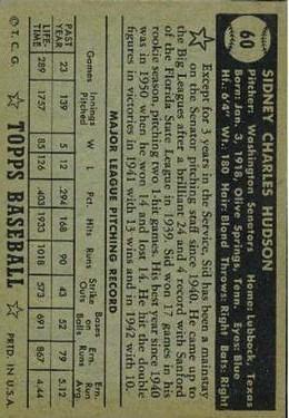 1952 Topps #60A Sid Hudson Black back image