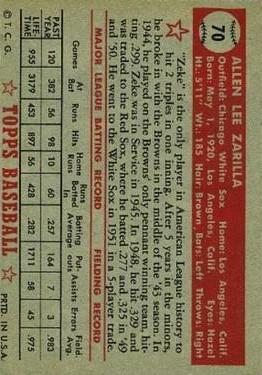 1952 Topps #70 Al Zarilla back image